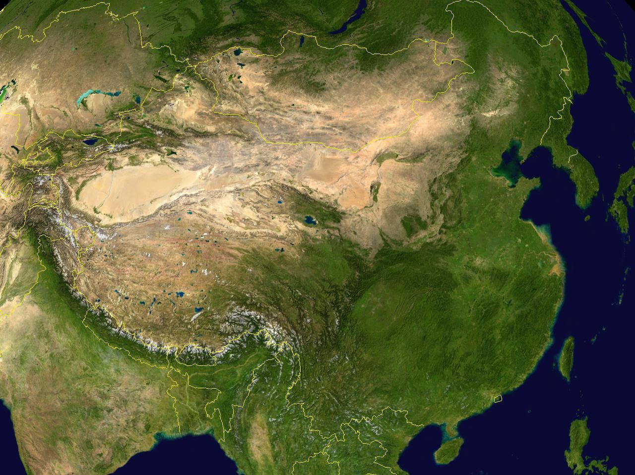 Satellite map of China wwwMappinet Maps Germany