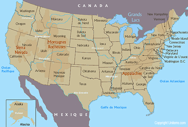 Map Of Usa With The Mountains