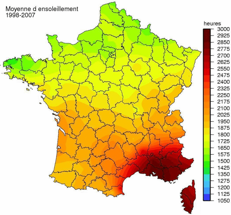 Map Of The Sunshine Of France