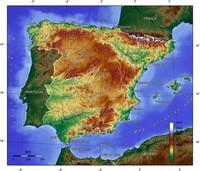 Relief Map of Spain.