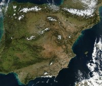 Satellite map of Spain.