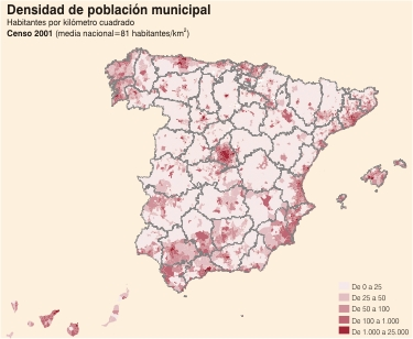 Density map of the population of Spain.