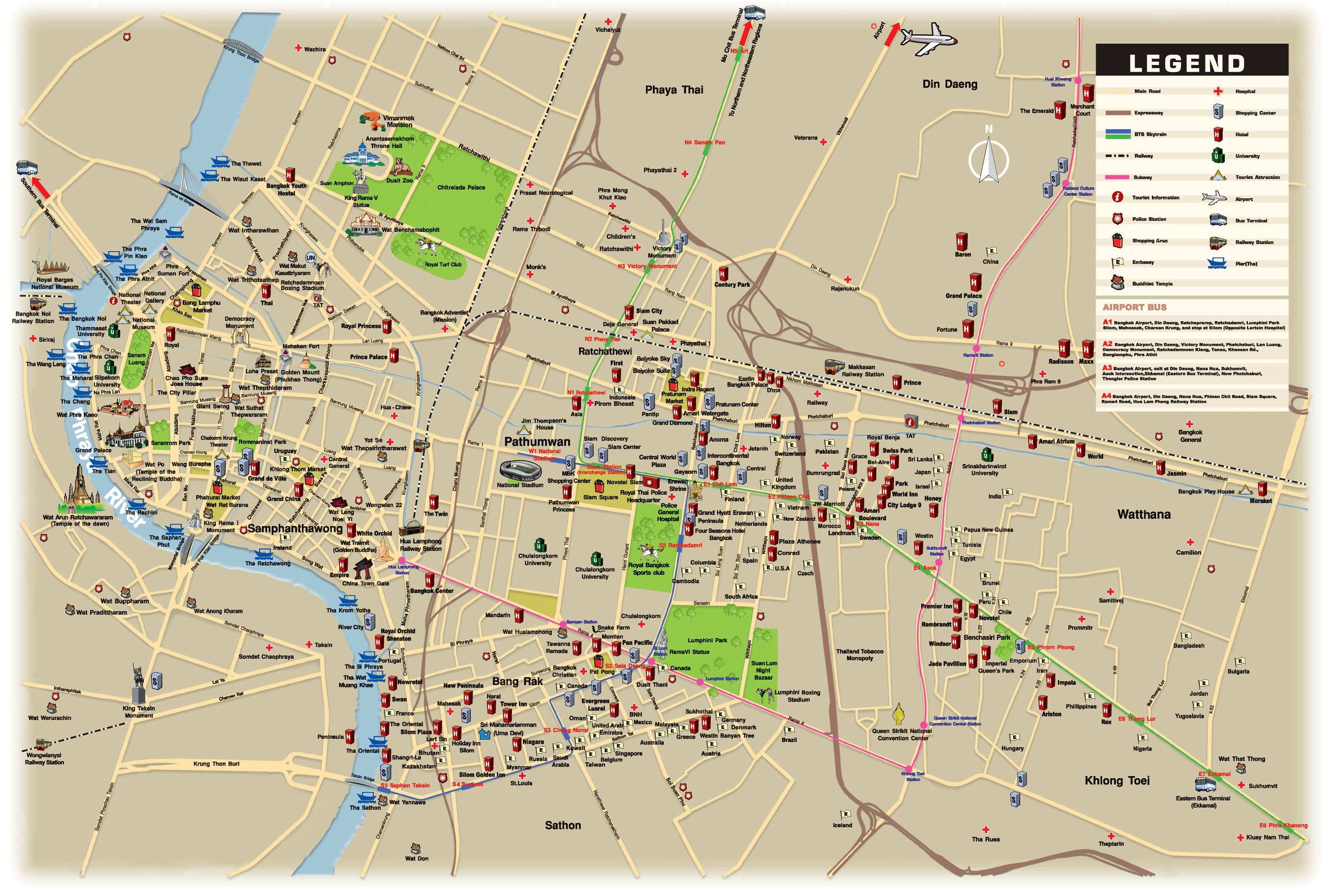 Bangkok map with roads subway tourist information hospitals hotels