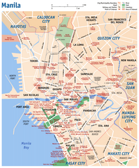 Map of Manila with important monuments.