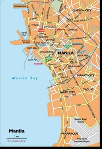 Map of the city of Manila with legend and streets names.