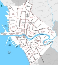 Map of the city of Manila with the names of streets and neighborhoods