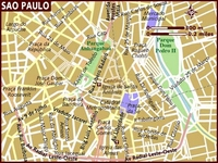 Map of central São Paulo with scales.