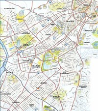 Map of Sao Paulo with tourist information drawn.