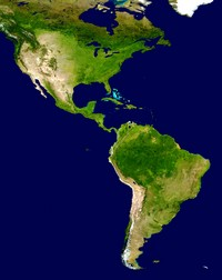 Satellite map of the Americas.