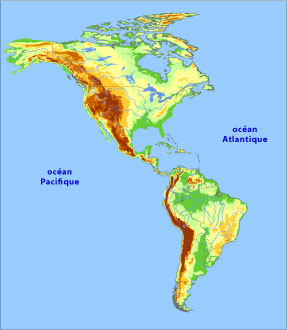 Relief Map of the Americas.