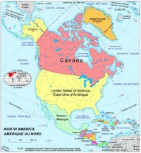 Map of North American countries.
