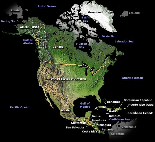 Map of North America.