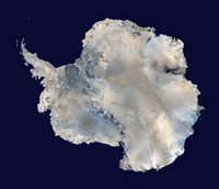 Satellite map of Antarctica.
