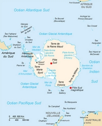 Map of Antarctica and the surrounding area.
