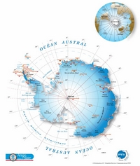 Map of Antarctica with the meridians.