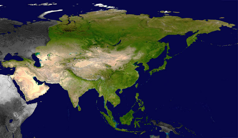 Satellite map of Asia.