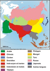 Map of languages ​​in Asia.