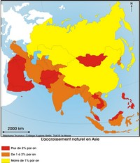 Map of natural growth in Asia.