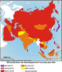 Map index of human development in Asia.