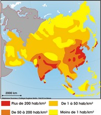 Map of population density in Asia.