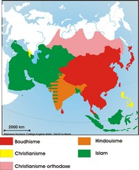 Map of religions in Asia.