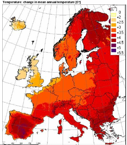 Map of Climate Change in Europe.
