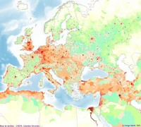 Map of population density in Europe.
