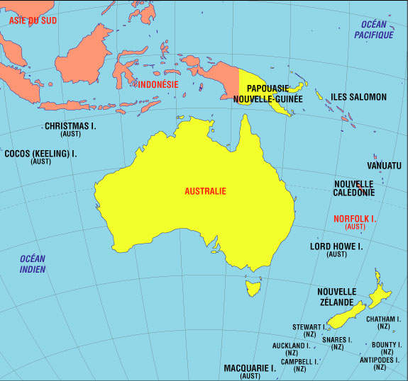 Map of the countries of Oceania.