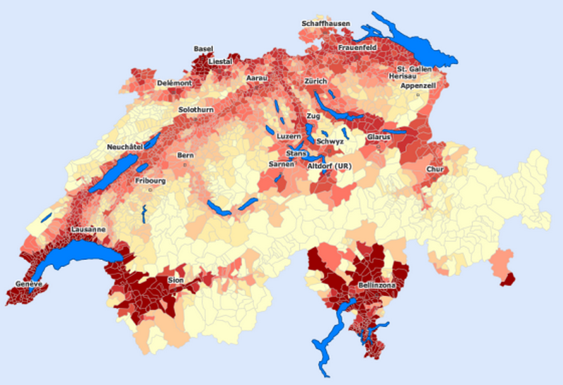 Mappi maps of countries switzerland page 2 temperature map of the municipalities of switzerland during the hottest month gumiabroncs Images