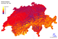 Map of sunshine in Switzerland.