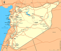 Simple map of Syria with roads and cities.