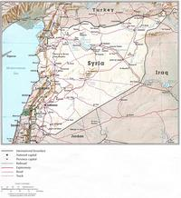Map of Syria with borders, roads and waterways.
