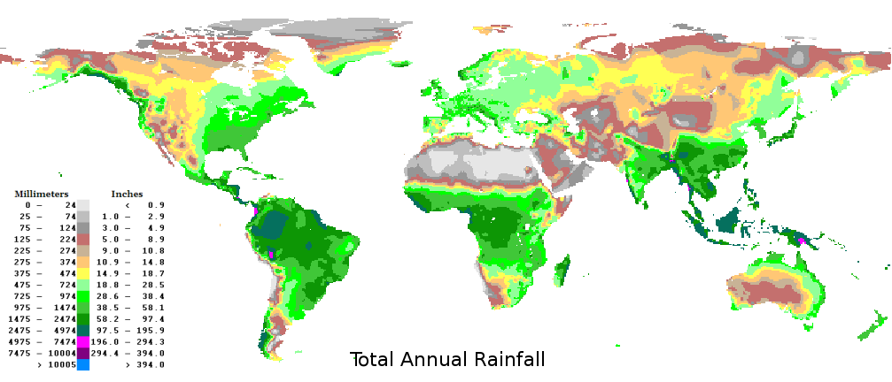 Precipitation map in the world.