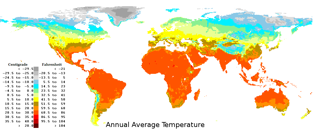 Temperature map in the world.
