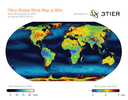 Map of average wind between the earth and the sea.