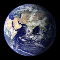 Satellite photo of world Eastern Hemisphere.