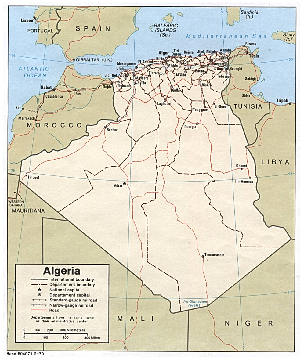 Political Map of Algeria in the year 1979.