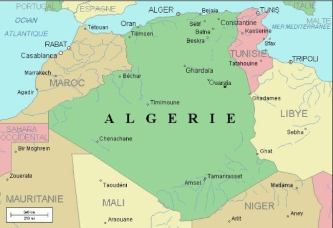 Map of rivers of Algeria.