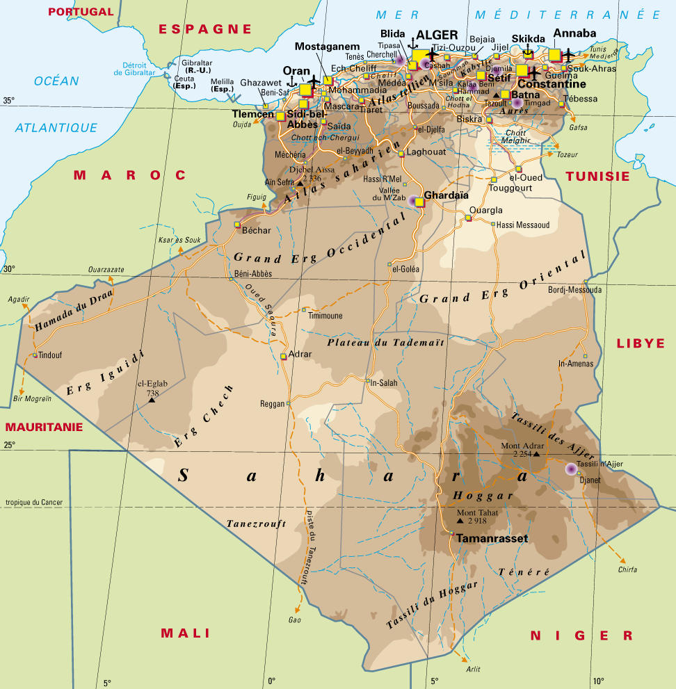 Large map of Algeria in detail.