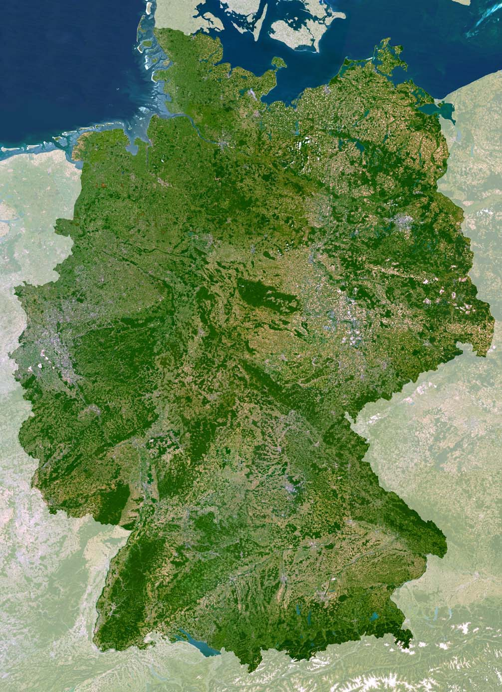 Satellite view of Germany.