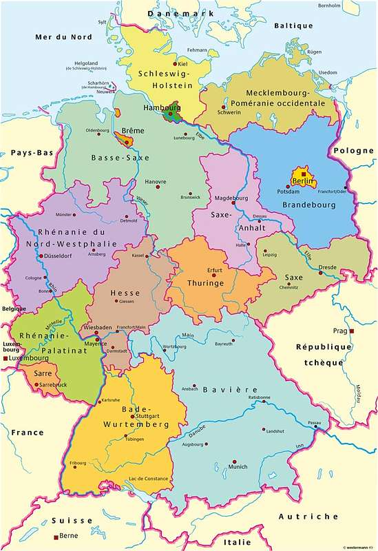 Map of regions of Germany.