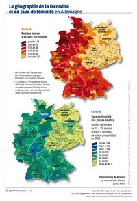 Map of the fertility rate and the rate of femininity in Germany.