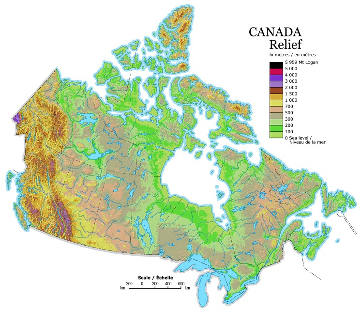 Relief Map of Canada.