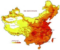 Map of population density in China.