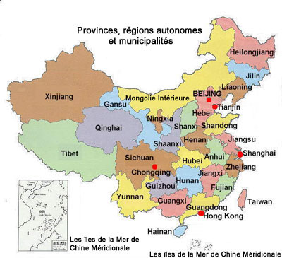 Map of regions of China.