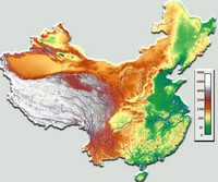Map of China with terrain and altitude.