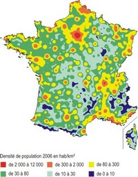 Map of population density in France.