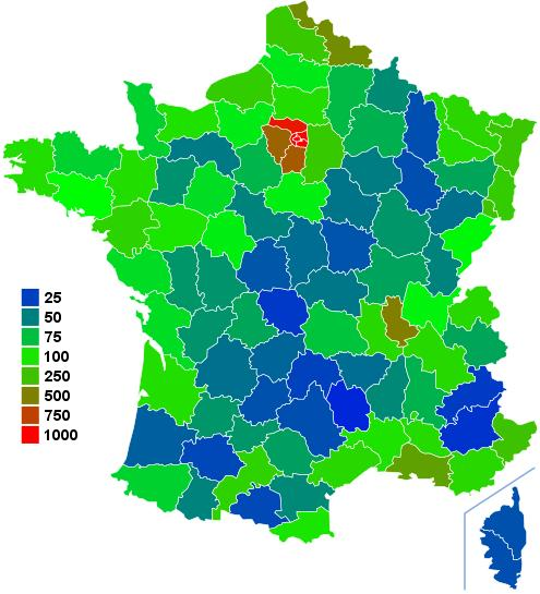 Density map of France by department.