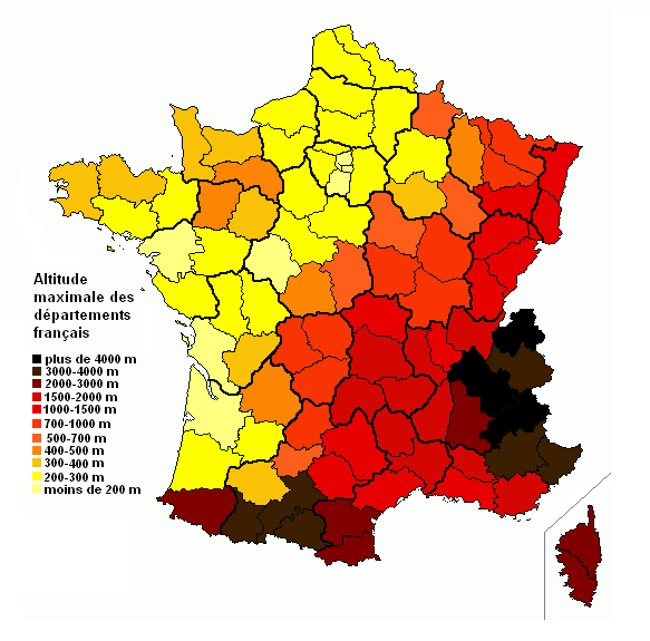 Map of the maximum altitude of the French departments