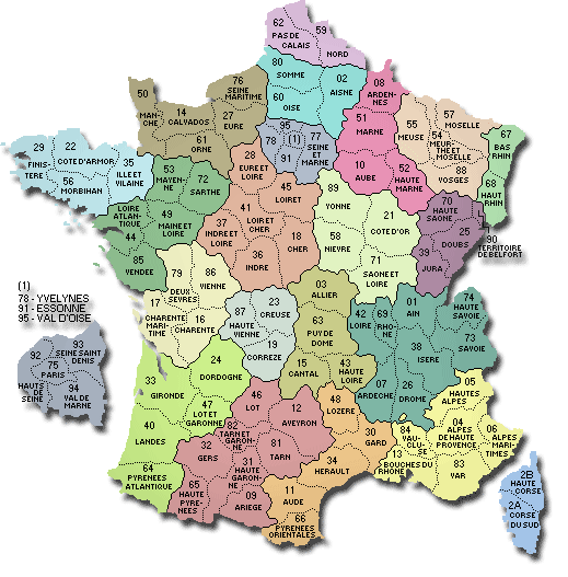 Map of French departments.